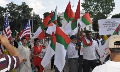 Protesters from Muttahida Qasmi Movement held protest in Washington DC to deny any favours to Imran Khan