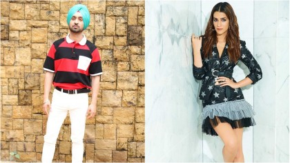 Kriti Sanon and Diljit Dosanjh promote their upcoming film 'Arjun Patiala' in Mumbai