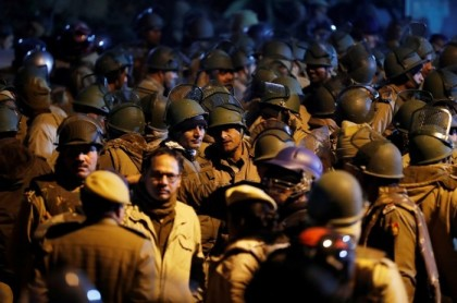 Delhi Police flag march to restore the normalcy in JNU campus