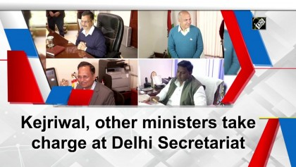 Kejriwal, other ministers take charge at Delhi Secretariat